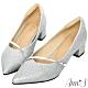 Ann'S高挑公主的婚鞋-閃亮軟金屬斜帶顯瘦低跟尖頭鞋-銀 product thumbnail 1