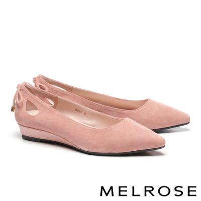 低跟鞋 MELROSE 知性典雅鏤空綁帶羊麂皮尖頭楔型低跟鞋-粉