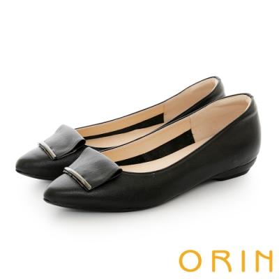 ORIN 牛皮方版金屬飾釦 女 平底鞋 黑色