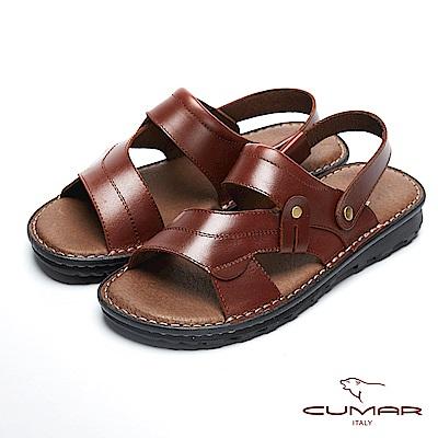 CUMAR 舒適真皮 高CP兩穿式拖涼鞋-酒紅
