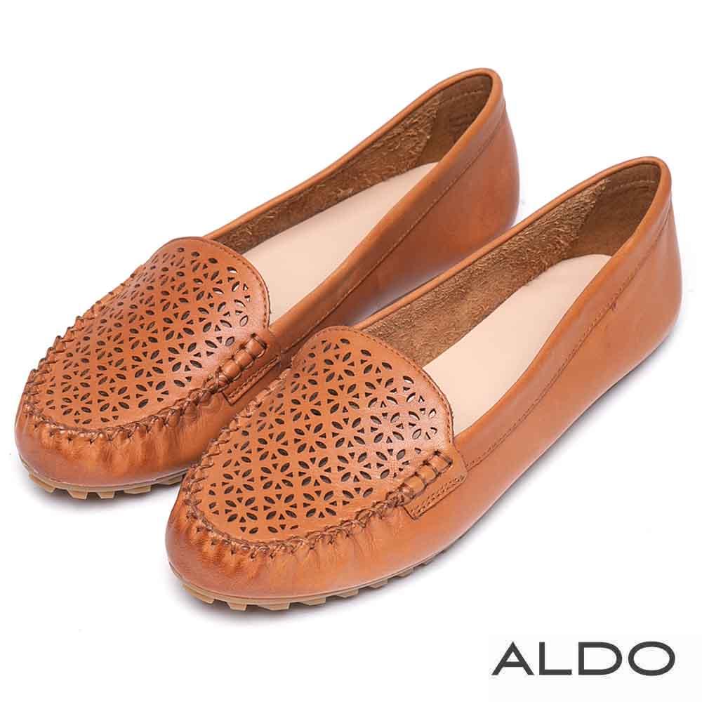 ALDO 原色真皮幾何鏤空雕花平底鞋~大地棕色