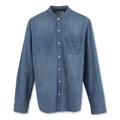 Hang Ten - 男裝 - 經典丹寧拼色長袖襯衫 - 藍