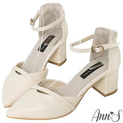 Ann'S柔美心動-造型斜帶顯瘦繞踝粗跟尖頭鞋-白(版型偏小)