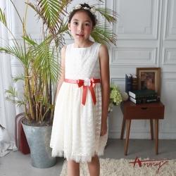 Annys安妮公主-優雅滿版蕾絲網紗裙擺珍珠花朵蕾絲袖洋裝*7112米白