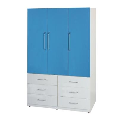 文創集 卡森4.1尺塑鋼三門六抽衣櫃/收納櫃(8色)-122x62.5x198cm免組