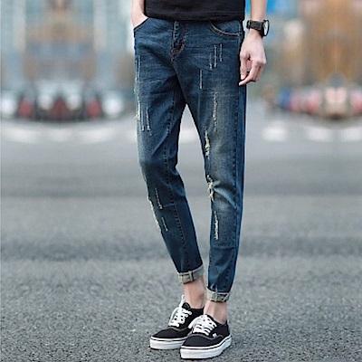 BuyGlasses Slim磨破刷紋牛仔褲