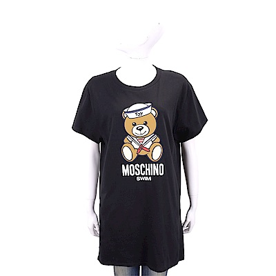 MOSCHINO Swim 水手泰迪熊寶寶黑色長版棉質T恤