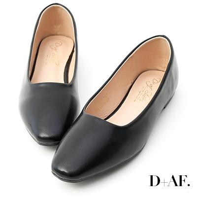 D+AF 溫柔春氛.小方頭素面百搭平底鞋*黑
