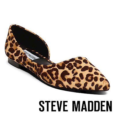 STEVE MADDEN-AUDRIANA-L 素面尖頭側空平底鞋-豹紋