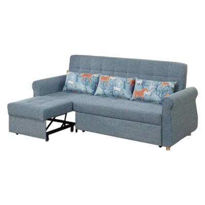 文創集 萊茲棉麻布三人沙發(二向獨立座位+拉合式機能)-219x87x93cm免組
