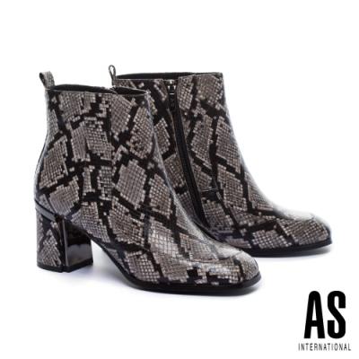 短靴 AS 復古時髦全真皮方頭粗高跟短靴-蛇紋