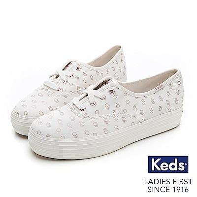 Keds TRIPLE 燙金印花綁帶休閒鞋-白