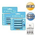 【Panasonic】低自放3/4號鎳氫充電電池-藍鑽輕量款(各4入)+充電器