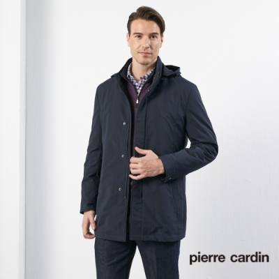 Pierre Cardin皮爾卡登 男裝 進口素材掛帽立領羽絨外套-丈青色(5185733-39)