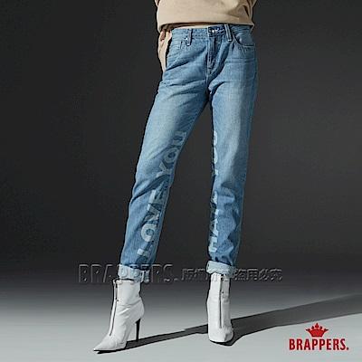 BRAPPERS 女款 Boy friend系列-中高腰全棉雷射字母直筒褲-淺藍