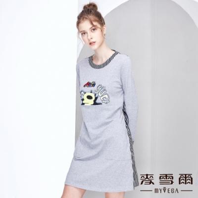【麥雪爾】字母塗鴉水鑽異材質拼接洋裝