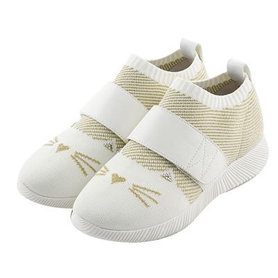 BESO 炫彩貓咪 束帶輕量飛織休閒鞋~米