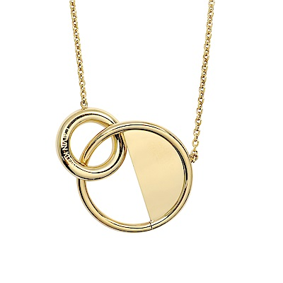 Calvin Klein CK LOCKED簡約雙圈半圓金色可調節項鍊