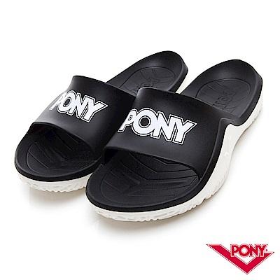 【PONY】輕量抗菌防臭防滑運動拖鞋 涼鞋 男鞋 女鞋 黑色