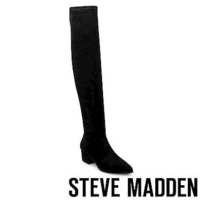 STEVE MADDEN-CARLI摩登款粗跟過膝套靴-絨黑