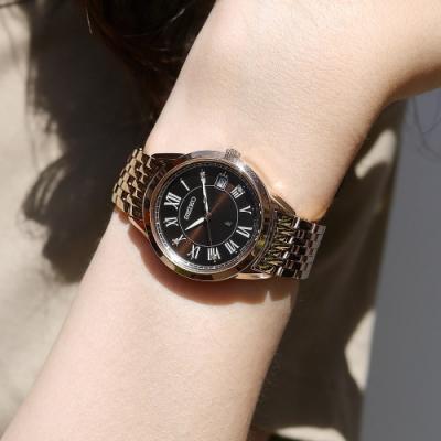 SEIKO 精工 LUKIA 太陽能 鑽石 日期 不鏽鋼手錶-咖啡x鍍玫瑰金/34mm