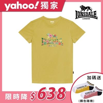 【LONSDALE 英國小獅】夏日扶桑花LOGO短袖T恤-鵝黃LT002