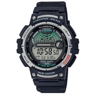 CASIO 海釣者專屬10年電力設計數位電子錶-黑(WS-1200H-1A)/48.6mm