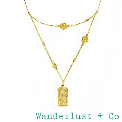 Wanderlust+Co 澳洲品牌 金色玫瑰花項鍊 鑲鑽雙層項鍊 MULTI ROSA