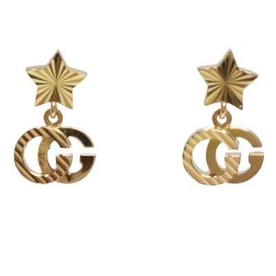 GUCCI 經典GG Running 18k星星造型穿式耳環(金)