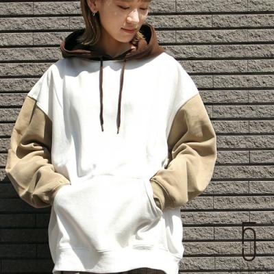 ZIP日本男裝 內刷毛異色拼接寬版連帽運動衫 (8色)