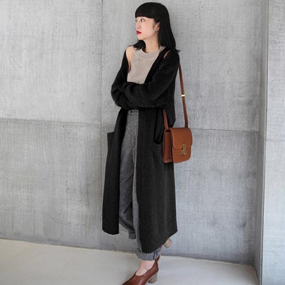 【韓國K.W.】拿鐵色系韓版針織外套-兩色