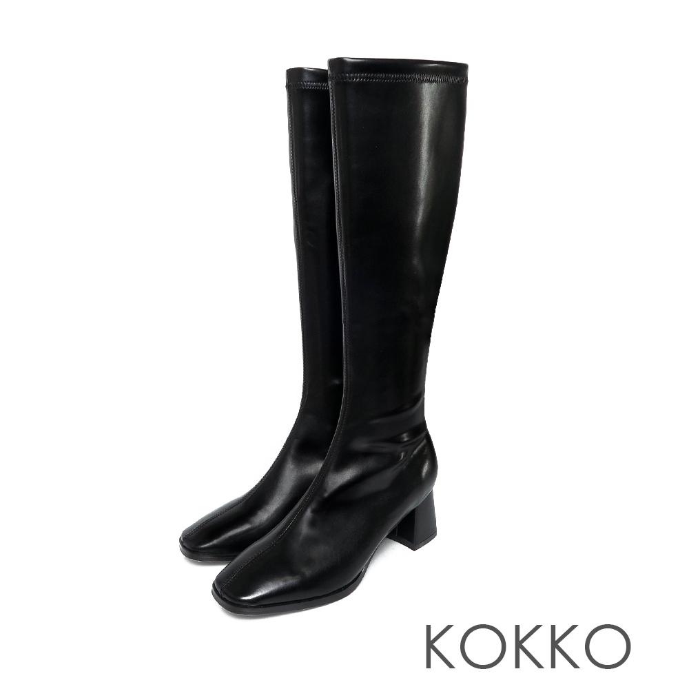 KOKKO簡約風方頭顯瘦粗跟長靴霧黑色