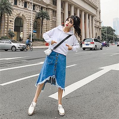 DABI 韓系連帽套頭衣流蘇牛仔裙套裝長袖裙裝