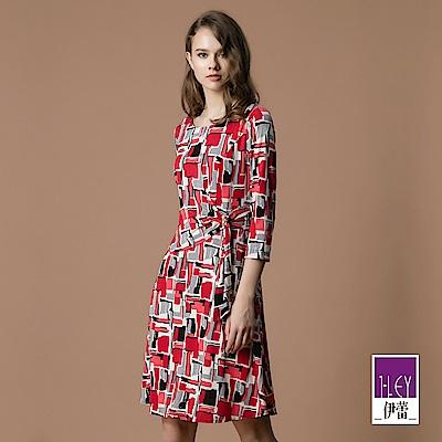 ILEY伊蕾 修身公主線珠飾幾何印花洋裝(紅)