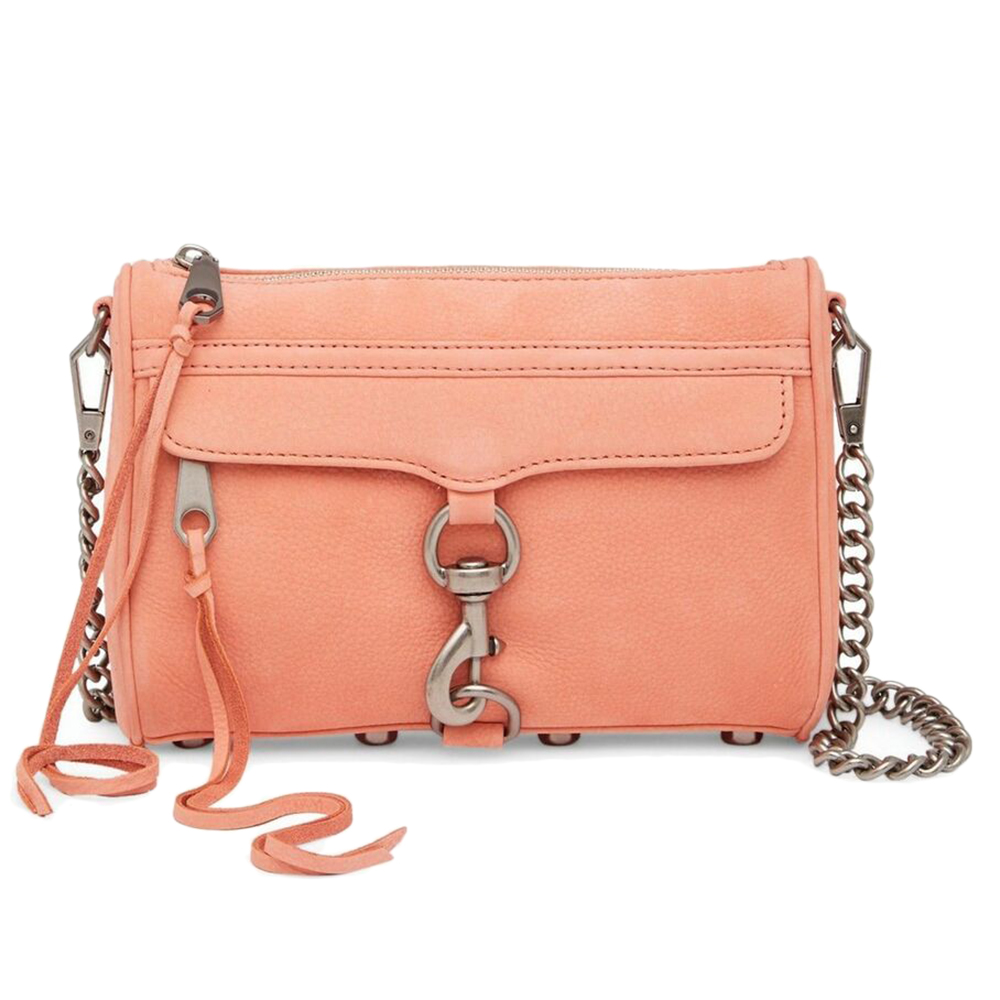 REBECCA MINKOFF Mini Mac 橘粉復古銀鍊真皮側肩包/斜背包 @ Y!購物