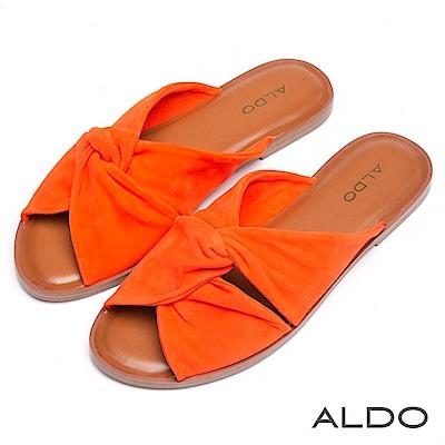 ALDO 原色真皮蝴蝶雙扭結露趾休閒涼拖鞋~燦爛橘色