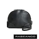 RABEANCO 真牛皮革護角造型弧形肩背包 -黑