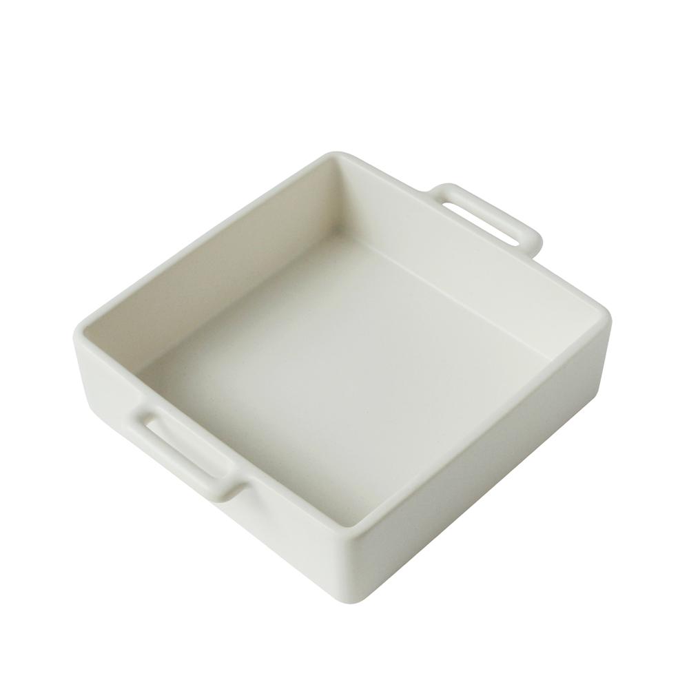 日本 Kamoshika 道具店 陶質調理盤(中,白)