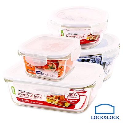 樂扣樂扣豐饒料理耐熱玻璃保鮮盒4件組(快)