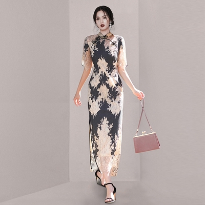 中式雙襟蕾絲開衩改良旗袍S-XL-Sexy Devil