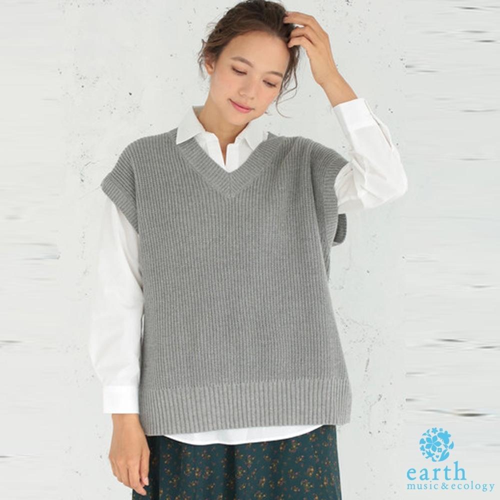 earth music 【SET ITEM】短袖V領針織上衣+基本款長袖白襯衫