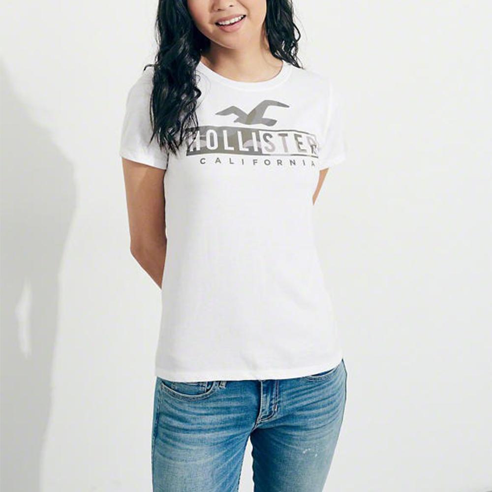 海鷗 Hollister 經典印刷文字圖案短袖T恤(女)-白色