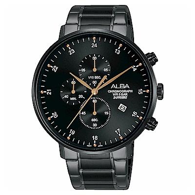 ALBA 雅柏 主張自我原創計時手錶(AM3665X1)-黑/44mm
