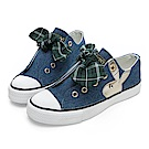 PLAYBOY 甜美格紋蝴蝶結休閒鞋-藍-Y5205FF