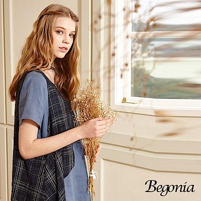 Begonia 格紋假兩件抓縐苧麻洋裝(共兩色)