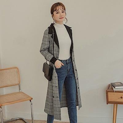 格紋配色襯衫領附腰綁帶雙排釦長袖洋裝/風衣-OB嚴選