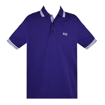 HUGO BOSS 經典標誌配色男款POLO衫-深紫
