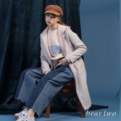 bear two- 前開褶牛仔寬褲 - 藍