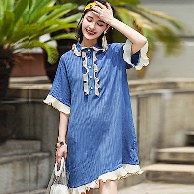 復古捲皺花邊寬鬆直筒洋裝-(藍色)Andstyle