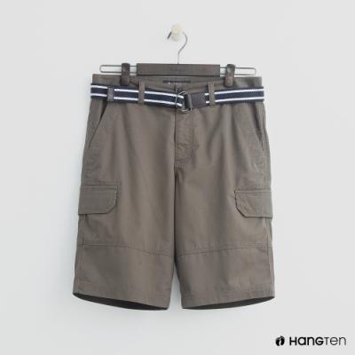 Hang Ten - 男裝 - 腰帶造型口袋棉質短褲-卡其